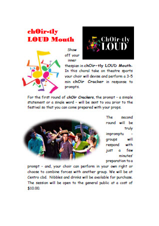 "chOir-tly LOUD ""Mouth"" Choral Theatre Sports flyer download"